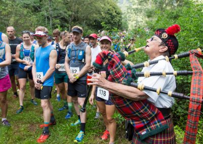 Bagpipes play at the start of the Mount Glorious Mountain Trail